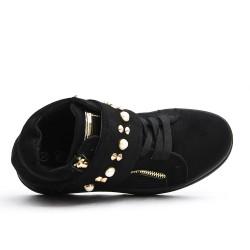 Basket noire à large bride ornée de perles