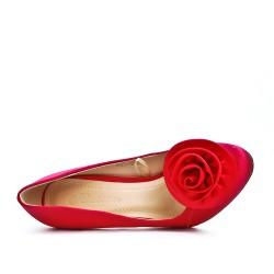 Escarpin rouge à fleur