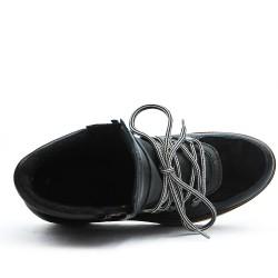 Bottine noire à lacet en cuir