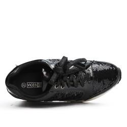 Basket noire à lacet détail pailleté