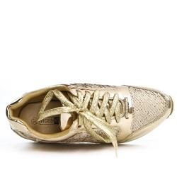 Basket dorée à lacet détail pailleté