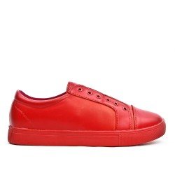 Basket rouge en simili cuir