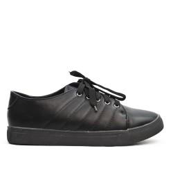 Basket noire en simili cuir à lacet