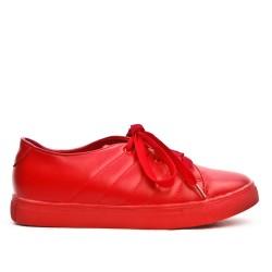 Basket rouge en simili cuir à lacet