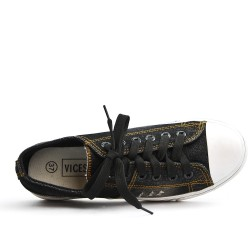Basket en jean noir à lacet