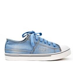 Basket en jean bleu à lacet