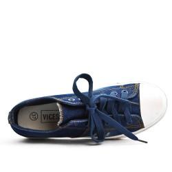 Basket en jean marine à lacet
