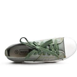 Basket en jean gris à lacet