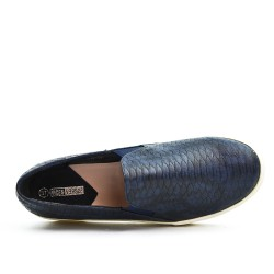 Basket bleu imprimée à motif croco