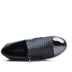 Basket noire zippée à motif croco