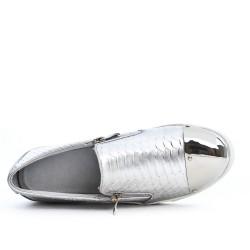 Basket argent zippée à motif croco