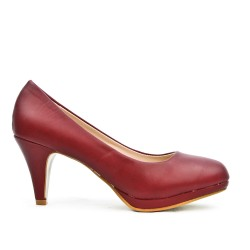 Escarpin bordeaux en simili cuir à talon