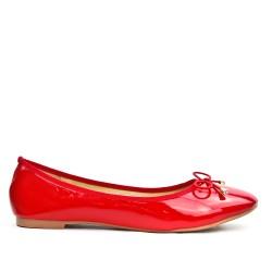 Ballerine grande taille rouge en vernis à nœud