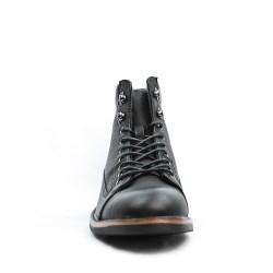Bottine noire en simili cuir à lacet