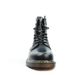 Bottine noire en simili cuir à lacet et zippé