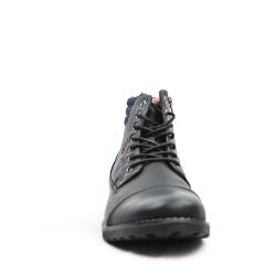 Bottine noire en simili cuir à détail en jean