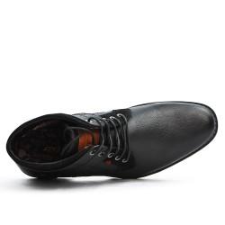 Bottine noire en simili cuir à talon effet bois