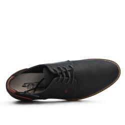 Derby noire en simili cuir texturé à lacet