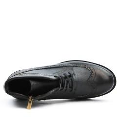 Bottine richelieu noire en simili cuir