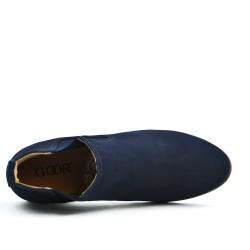 Bottine bleu en simili daim avec empiècement élastique