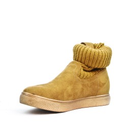Bottine chaussette fille camel