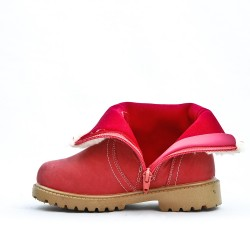 Botte enfant rose en simili cuir