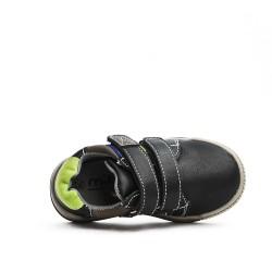 Basket enfant noire en simili cuir à scratch