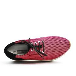 Basket rose à lacet avec semelle épaisse