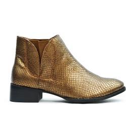 Bottine dorée en simili cuir texturé