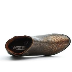 Bottine bronzée en simili cuir texturé
