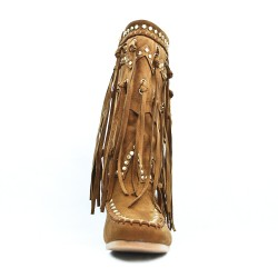 Botte camel en simili daim à motif ethnique