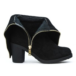 Black suede boot with sock design