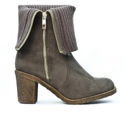 Gray suede boot with sock design