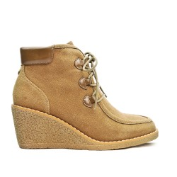 Khaki wedge ankle boot with lace