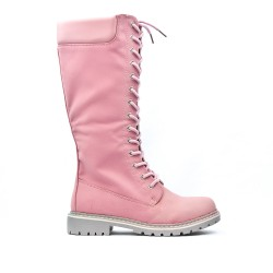 Botte rose en simili cuir à lacet