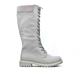 Gray boot in imitation leather with lace