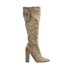 Khaki boot in imitation suede with heel