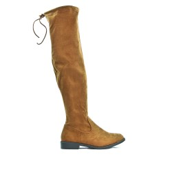 Boot camel in suede with lace