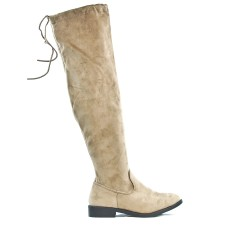 Taupe boot in suede with lace