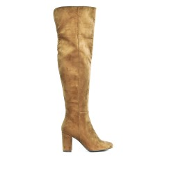 Boot camel with heel in imitation suede