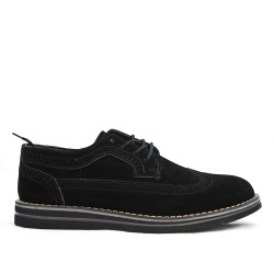 Richelieu black in faux suede with lace