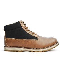 Camel lace-up bi-material boot