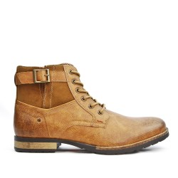 Camel ankle boot with lace up
