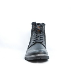 Bota de tobillo negro con detalle textil