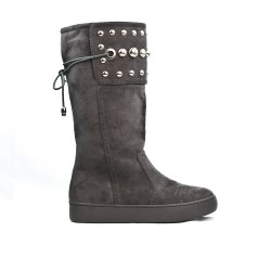 Gray suede boot