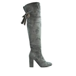 Gray suede boot with heel
