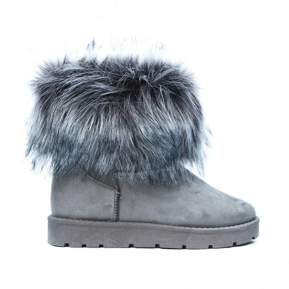 Gray ankle boot with fur logos