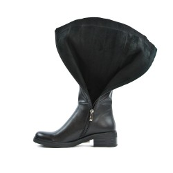 Black leather-faced boot on the side