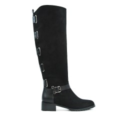 Black suede boot with back strap