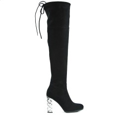 Black boot with transparent heel
